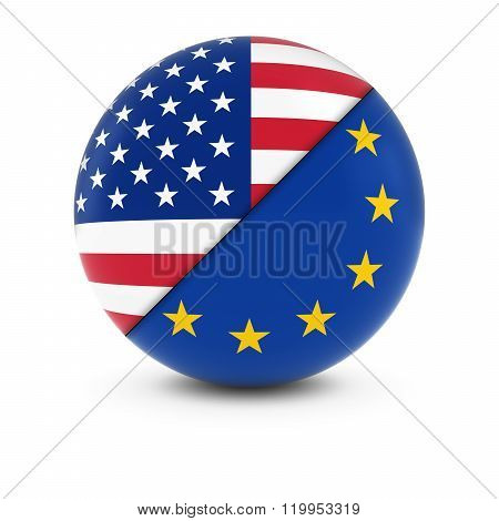 American and European Flag Ball - Split Flags of the USA and the EU - 3D Illustration