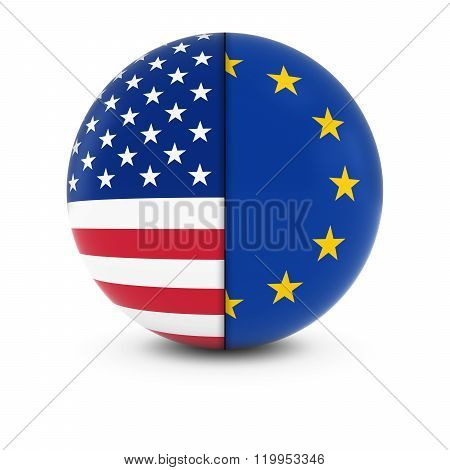 American And European Flag Ball - Split Flags Of The Usa And The Eu
