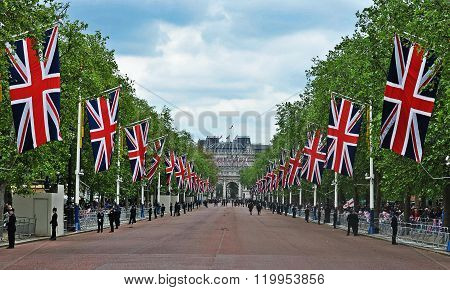 Union Jack Flags Decorate the Mall in London