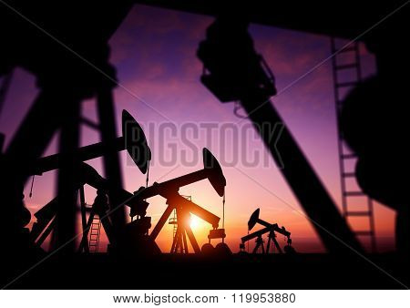 Oil Pumps At Dusk