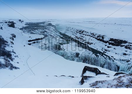 Winter View Of The Gullfoss Falls, Iceland