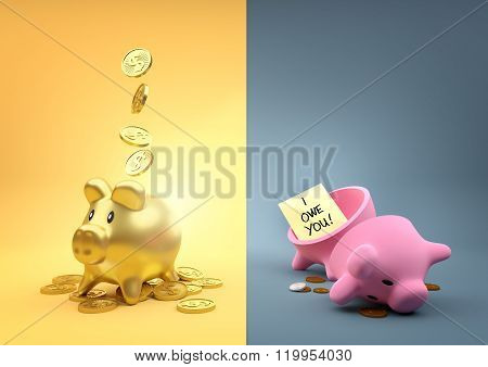 Different Fortunes. Two money piggy banks - One full of gold the other empty other than a few pennies.