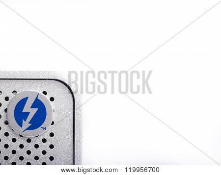 LONDON-JAN.01: thunderbolt logo on an hard disk photographed on 18th january 2013 in LondonUK. Intel thunderbolt is a new connectivity solution that offer a speed of transfer faster 10 times compared to esata and older connection solution.