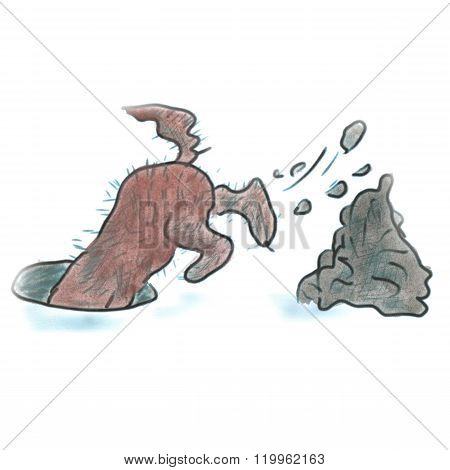 dog digging a hole cartoon watercolor isolated