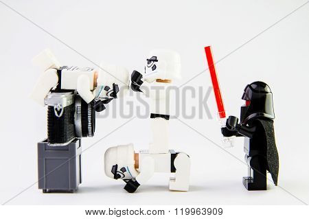 Nonthabure Thailand - February 24 2016: Lego star wars stormtrooper taking a photograph.The lego Sta