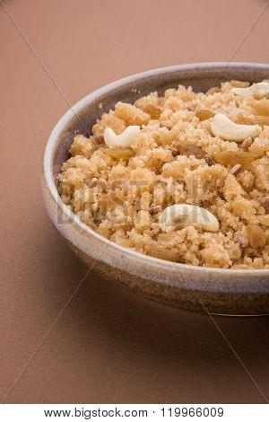 indian gujrati or maharahashtrian or south indian sweet dish lapsi broken wheat sweet pudding payasa