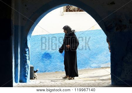 CHEFCHAOUEN, MOROCCO, OCTOBER 24 2015: Street life in the Blue city of Chefchaouen, one of the tourist destinations of Morocco, Africa