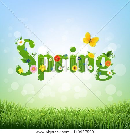 Spring Poster With Gradient Mesh, Vector Illustration
