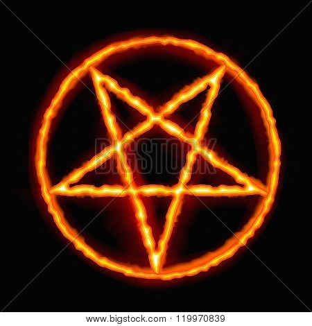 Fire Pentagram. Satanic sign gothic style. Vector illustration.