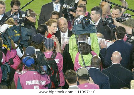 MIAMI - FEB 4: Singer Billy Joel (C) speaks with the press at Super Bowl XLI between the Indianapolis Colts and Chicago Bears at Dolphins Stadium on February 4, 2007 in Miami, Florida.