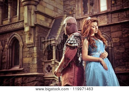 Medieval Knight With His Beloved Lady