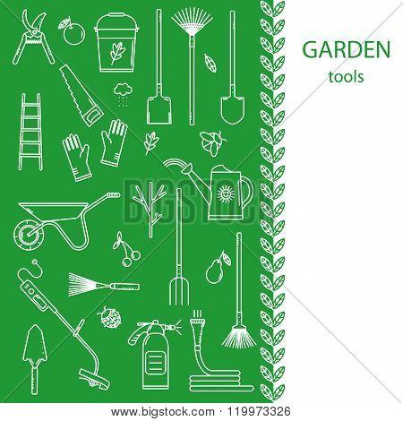 Garden tools vector concept.
