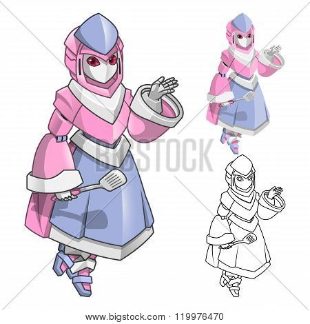 Robot Woman Chef Cartoon Character