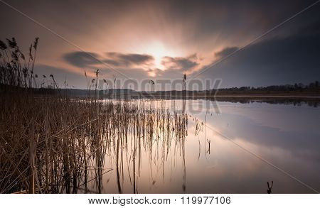 Lake Landscape In Long Time Exposure