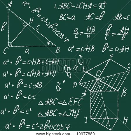 Hand Drawn Math Education Vector Seamless Pattern With Geometrical Figures And Formulas. Chalk On A