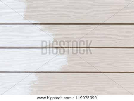 White Paint On Wood Wall Plank Background