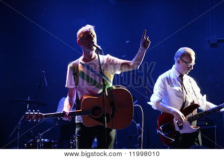 NEW YORK - JULY 16: Robbie Grey (C) and Mick Conroy of Modern English perform at Le Poisson Rouge on July 16, 2010 in New York City.