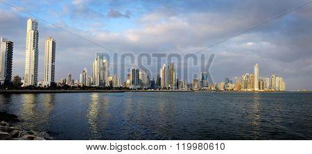 Detail panorama of Panama City Buildings Skyline and Bay Ocean