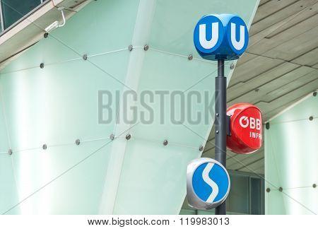 Public Transport Signs In Vienna, Austria