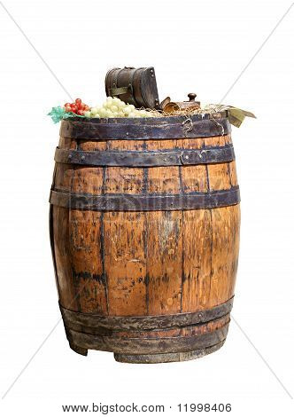 Old Wooden Barrel For Wine Isolated On White