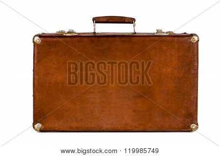Old shabby brown suitcase with angle bars. Retro suitcase. Vintage baggage. Vintage travel bag. poster