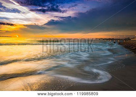 Purple Yellow Sunset Sky Fort De Soto Gulf Pier  Tierra Verde, Florida