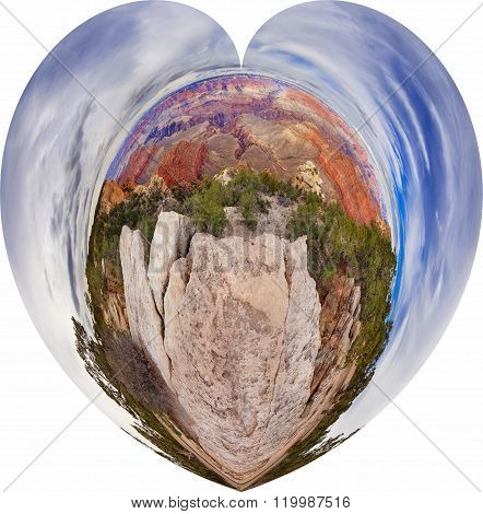 Panorama type view in a heart shape