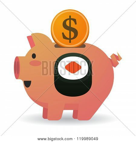 Isolated Piggy Bank With A Piece Of Sushi Maki