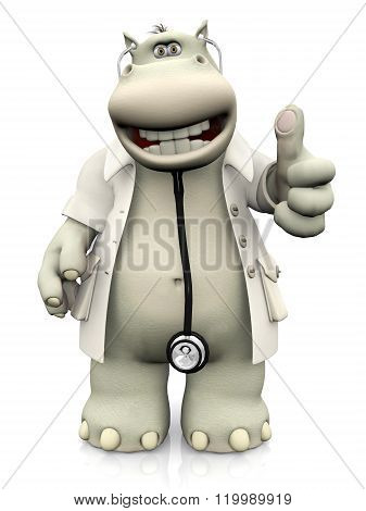 Cartoon Hippo Doctor Doing A Thumbs Up.