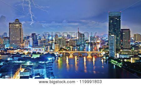Storm sky over city