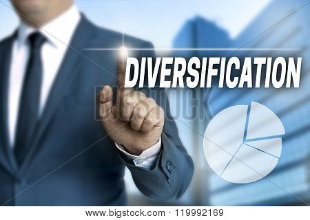 Diversification Touchscreen Is Operated By Businessman