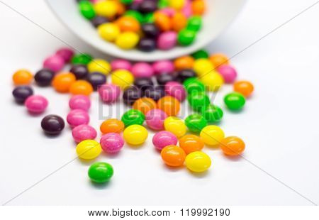 Candies isolated on white background. Close up.