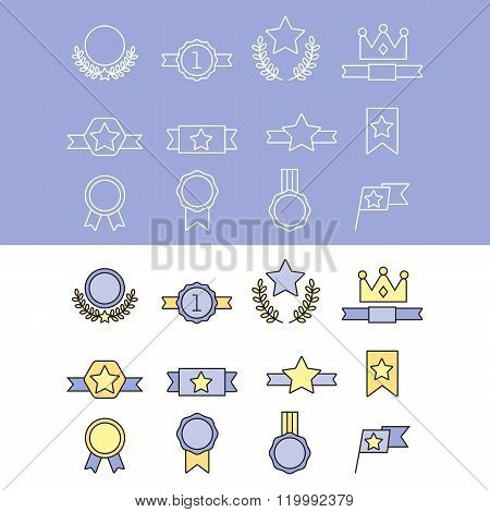 Medal and winner icon set. First place, flag, star. Winner icon. Award collection. Medal icon. Vector medal award isolated on white background. Winner badge. Sign of victory. Flat medal. Medal logo. Award icon. Winner trophy icon. Winner cup. Awards sign.