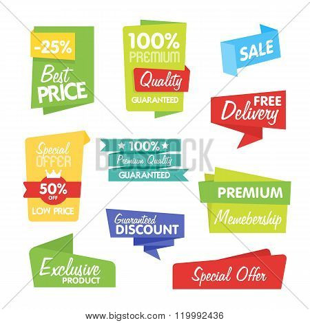 Sale sticker. Discount sticker. Vector sale sticker. Isolated sticker. Sale sticker on white background. Sale sticker, exclusive product sticker, special offer in origami style. Sale sticker set. Sale badge. Special sale badge for goods. Sale icon.