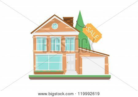 Home For Sale Real Estate Vector Illustration. Sale house. Sale home. For sale house. Loan house. Sale offer. Vector house building. House isolated. House on white backrground. House icon. Sale sign.