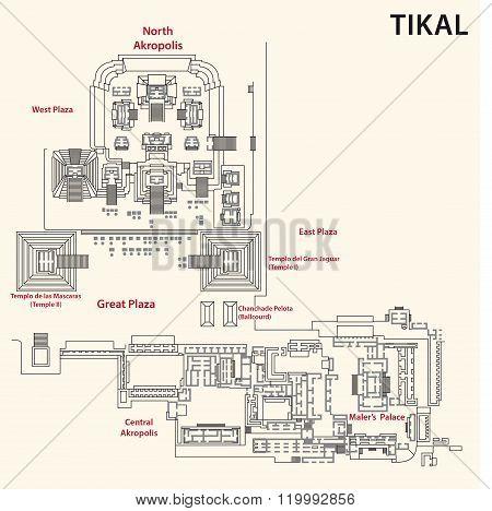 Tikal map, guatemala