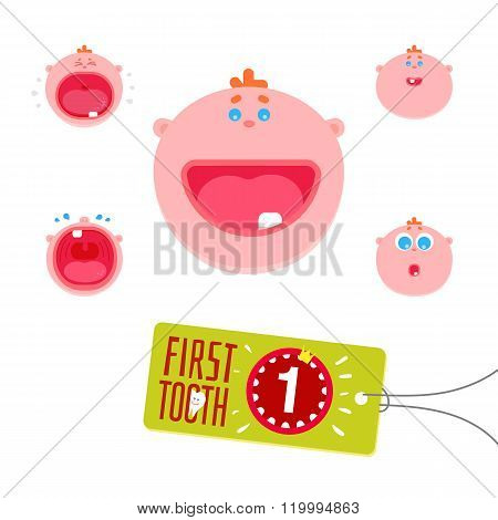 Children faces set with first tooth