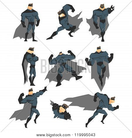 Superhero Actions Set in Comics Style. Vector Illustration