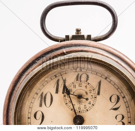 Vintage Alarm Clock isolated on white.