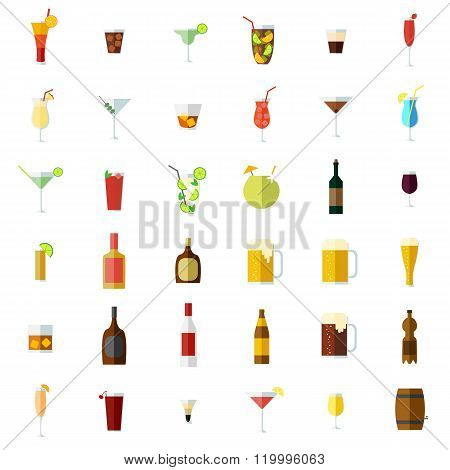 Alcohol icons set