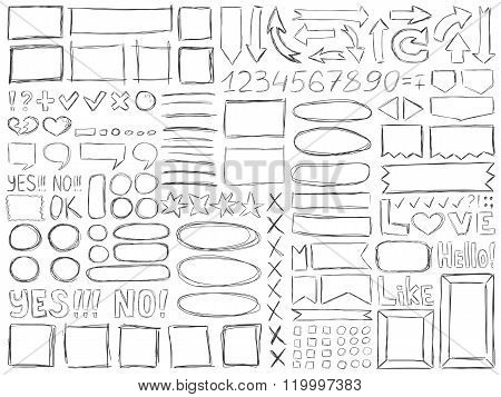 Pencil Doodle Effect Signs Symbols Numbers Frames