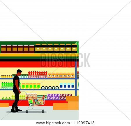 Food store interior vector illustration flat style. Customers buy products in supermarket. Groceries