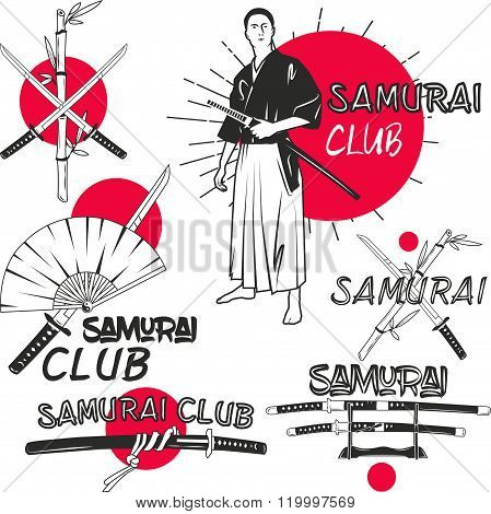 Vector set of samurai labels in vintage style. Oriental martial arts club concept. Crossed katana sw