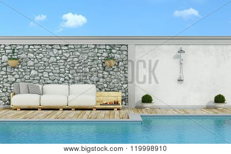 White Pallet Couch In Pallets On The Poolside