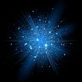 Blue glitter particles background effect. Sparkling texture. Star dust sparks in explosion on black background. Vector Illustration poster