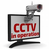 """The red inscription """"CCTV in operation"""" and CCTV camera on the monitor. The three-dimensional illustration. Isolated poster"""