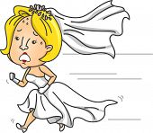 Illustration of an Anxious Bride Running While Wearing a Wedding Gown poster
