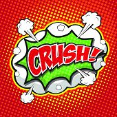 CRUSH! comic wording sound effect set design for comic background poster