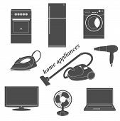 Vector collection of household appliances. Icons of home appliances. poster