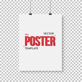 Illustration of Vector Poster Mockup. Realistic Vector EPS10 Paper Vertical Poster Isolated on PS Style Transparent Background poster